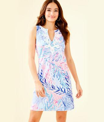 Harper Shift Dress, Crew Blue Tint Kaleidoscope Coral, large 0
