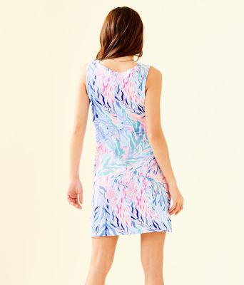 Harper Shift Dress, Crew Blue Tint Kaleidoscope Coral, large 1