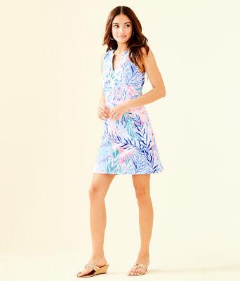 Harper Shift Dress, Crew Blue Tint Kaleidoscope Coral, large