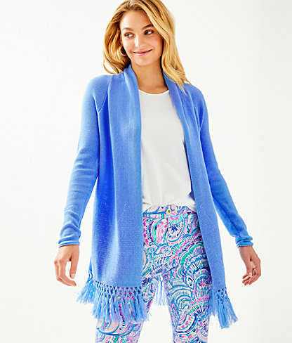 Tatum Long Fringe Hem Cardigan, Blue Peri, large 0