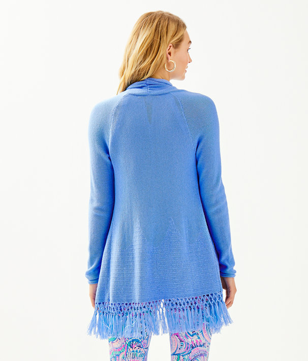 Tatum Long Fringe Hem Cardigan, Blue Peri, large