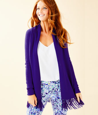 Tatum Long Fringe Hem Cardigan, Royal Purple, large 0