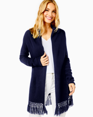 Tatum Long Fringe Hem Cardigan, True Navy, large