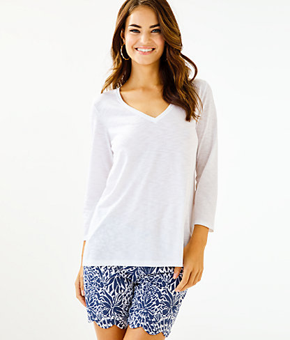 Etta 3/4 Sleeve Top, Resort White, large 0