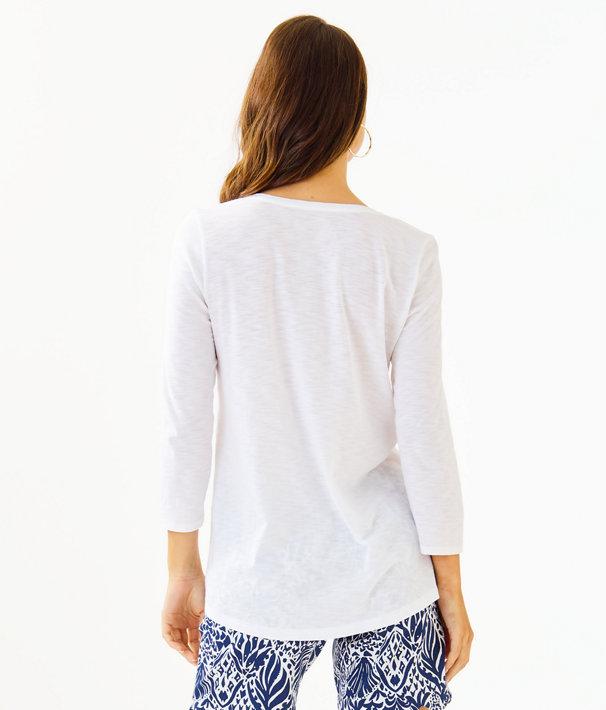 Etta 3/4 Sleeve Top, Resort White, large