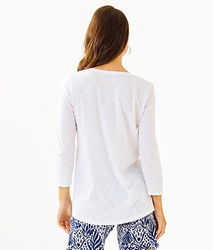 Etta 3/4 Sleeve Top, Resort White, large 1