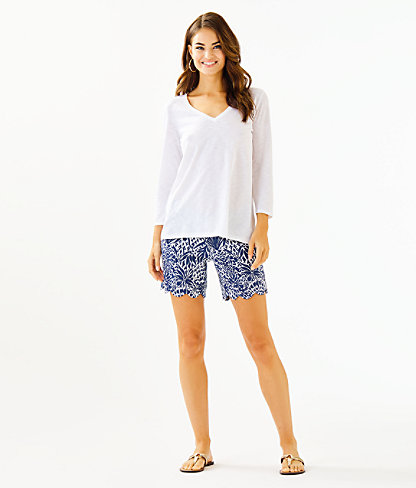Etta 3/4 Sleeve Top, Resort White, large 2
