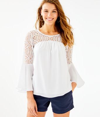 Amenna Flounce Sleeve Top, Resort White, large 0