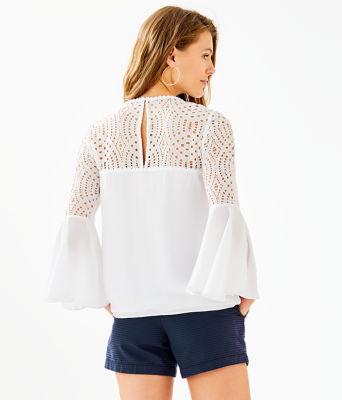 Amenna Flounce Sleeve Top, Resort White, large 1