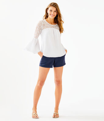 Amenna Flounce Sleeve Top, Resort White, large 2