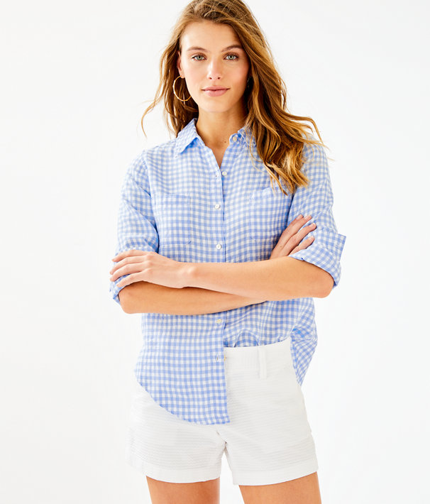 Sea View Linen Button Down Top, Blue Peri Gingham, large
