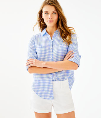 Sea View Linen Button Down Top, Blue Peri Gingham, large 0