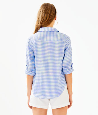 Sea View Linen Button Down Top, Blue Peri Gingham, large 1