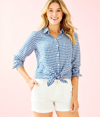 Sea View Linen Button Down Top, Nauti Navy Colony Gingham, large 0