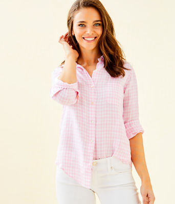 Sea View Linen Button Down Top, Pink Tropics Tint Gingham, large 0