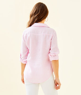 Sea View Linen Button Down Top, Pink Tropics Tint Gingham, large 1