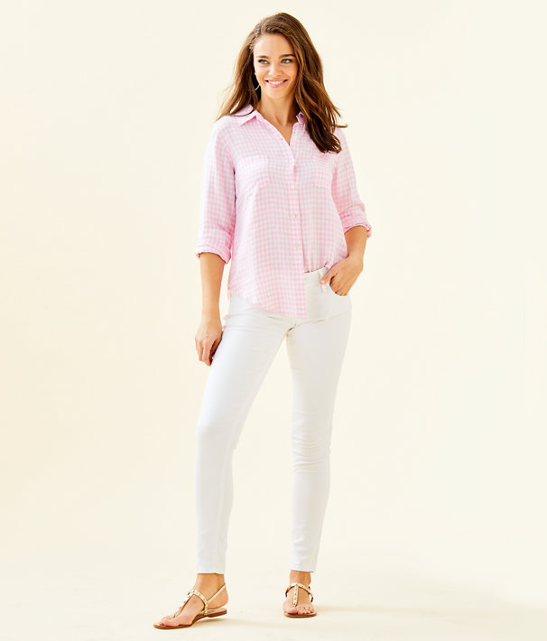 Sea View Linen Button Down Top, Pink Tropics Tint Gingham, large