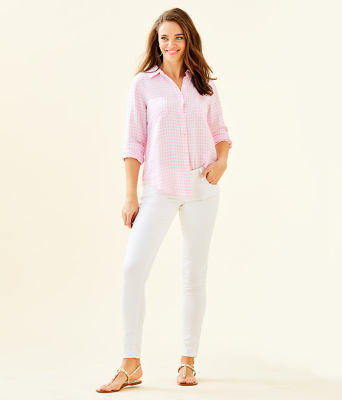 Sea View Linen Button Down Top, Pink Tropics Tint Gingham, large 2