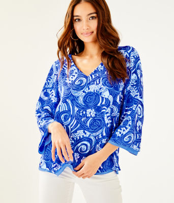 Florin Reversible 3/4 Sleeve V-Neck Top, Blue Grotto So Offishal, large