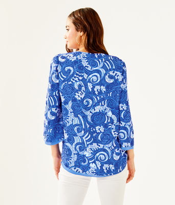 Florin Reversible 3/4 Sleeve V-Neck Top, Blue Grotto So Offishal, large 1
