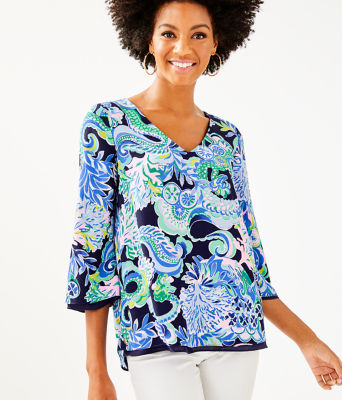 Florin Reversible 3/4 Sleeve V-Neck Top, Bright Navy Sirens And Spirits, large
