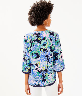 Florin Reversible 3/4 Sleeve V-Neck Top, Bright Navy Sirens And Spirits, large 1