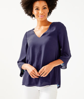 Florin Reversible 3/4 Sleeve V-Neck Top, Bright Navy Sirens And Spirits, large 2