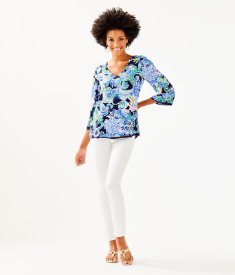 Florin Reversible 3/4 Sleeve V-Neck Top, Bright Navy Sirens And Spirits, large 3