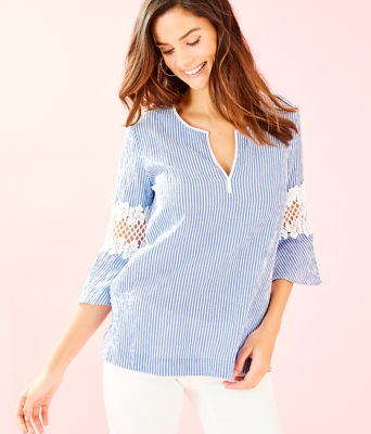 Amelia Island Flounce Sleeve Tunic, Coastal Blue Ltwt Oxford Stripe, large 0