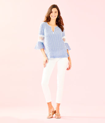 Amelia Island Flounce Sleeve Tunic, Coastal Blue Ltwt Oxford Stripe, large 3