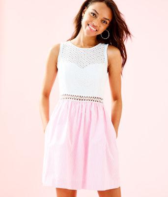 Alivia Dress, Havana Pink Yarn Dye Seersucker, large 0