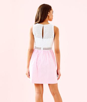 Alivia Dress, Havana Pink Yarn Dye Seersucker, large