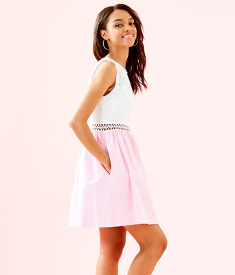 Alivia Dress, Havana Pink Yarn Dye Seersucker, large 2