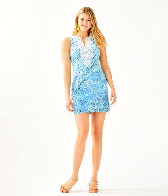 Gabby Stretch Shift Dress, Bondi Blue Scuba Doo Engineered Shift Dress, large
