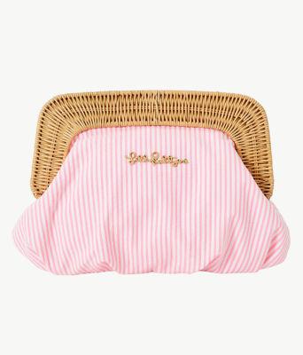 Cayo Coco Clutch, Havana Pink Yarn Dye Seersucker, large 0