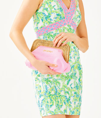 Cayo Coco Clutch, Havana Pink Yarn Dye Seersucker, large