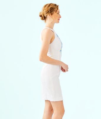 Jena Stretch Shift Dress, Resort White, large 2