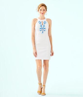 Jena Stretch Shift Dress, Resort White, large 3