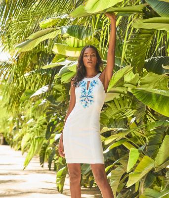 Jena Stretch Shift Dress, Resort White, large 6
