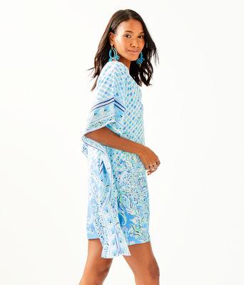 Lindamarie Silk Caftan, Bondi Blue Scuba Doo Engineered Caftan, large 2