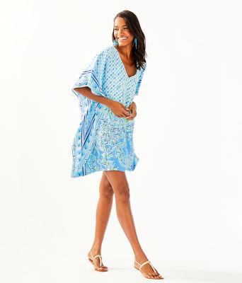Lindamarie Silk Caftan, Bondi Blue Scuba Doo Engineered Caftan, large