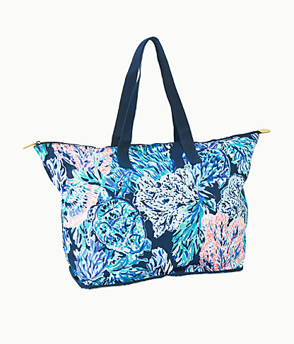 Getaway Packable Tote, High Tide Navy Party In Paradise, large 0