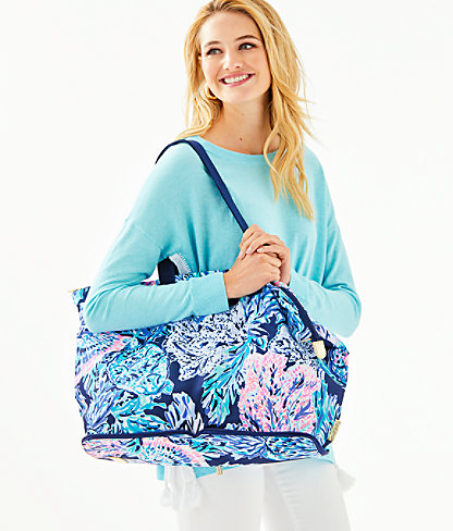 Getaway Packable Tote, High Tide Navy Party In Paradise, large 3