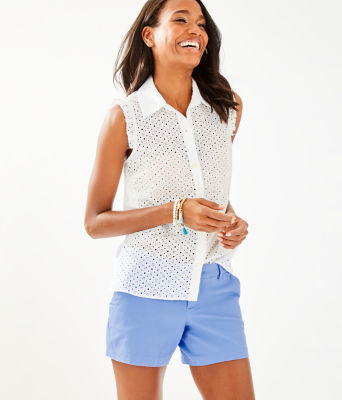 Lenox Button Front Top, Resort White Mini Geo Eyelet, large