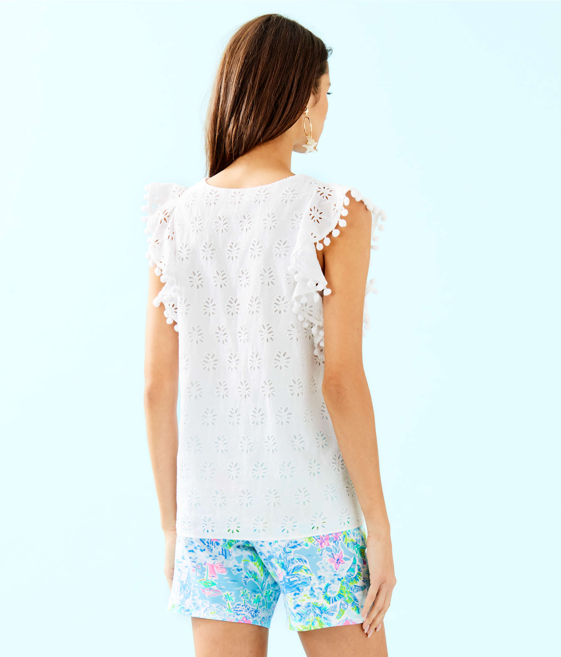 d8921d038bfb0e Astara Eyelet Top, Resort White Lilly Palm Tree Eyelet, large ...