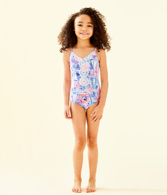 UPF 50+ Girls Danica One-Piece Swimsuit, Crew Blue Tint Sea To Shining Sea, large 0