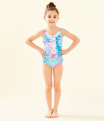 UPF 50+ Girls Danica One-Piece Swimsuit, Multi Sink Or Swim, large