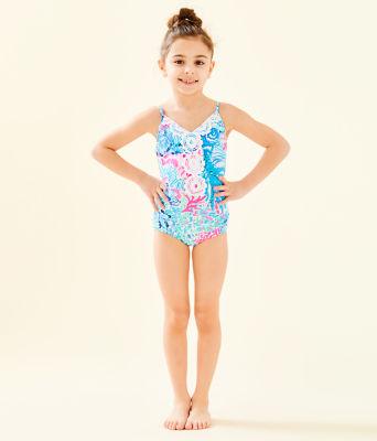 UPF 50+ Girls Danica One-Piece Swimsuit, Multi Sink Or Swim, large 0
