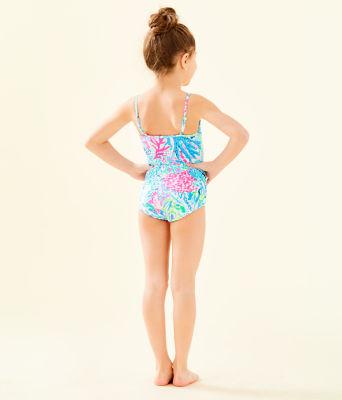 UPF 50+ Girls Danica One-Piece Swimsuit, Multi Sink Or Swim, large 2