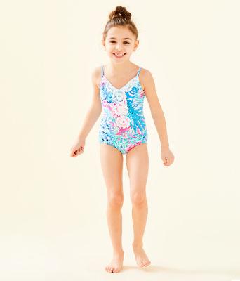 UPF 50+ Girls Danica One-Piece Swimsuit, Multi Sink Or Swim, large 3